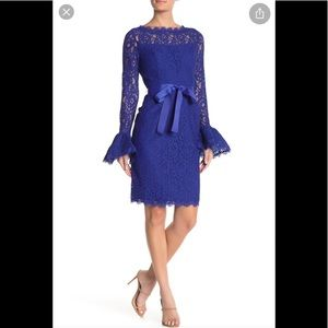 NWT,Shani Lace-Trim Crepe Fit-and-Flare Dress,blue